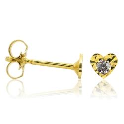 Ohrstecker 333 Gelbgold mit Herz diamantiert und Zirkonia