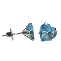 Ohrstecker mit Herz in hellblau 4mm
