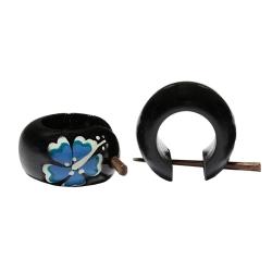 Holzohrstecker mit Hibiskus-Blüte in blau