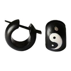 Holzohrstecker mit chinesischem Symbol Yin Yang
