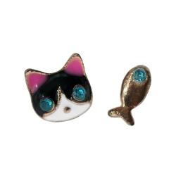 Ohrstecker Katze und Fisch
