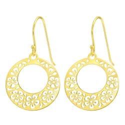 925 Sterling Silber Ohrhaken Ohrhänger vergoldet mit Blumenmuster