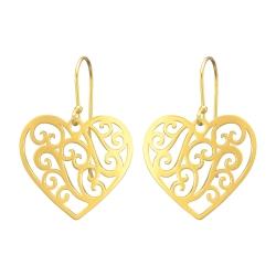 925 Sterling Silber Ohrhaken Ohrhänger vergoldet mit Herz