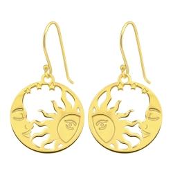 925 Sterling Silber Ohrhaken Ohrhänger vergoldet mit Mond und Sonne