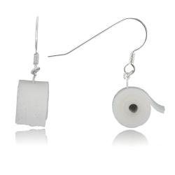 925 Sterling Silber Ohrhaken Ohrhänger mit Toilettenpapier Klopapier handgemacht