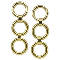 Goldfarbener Modeschmuck Ohrstecker mit drei Ringen