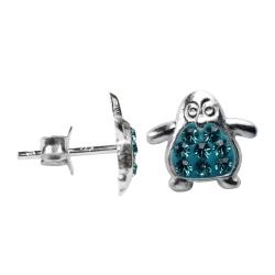 Silber Ohrstecker Pinguin in blau
