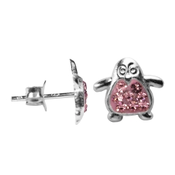 Silber Ohrstecker Pinguin in pink