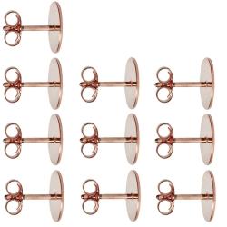 10 x Ohrstecker Rohlinge mit Platte 925er Silber rosévergoldet 14ct 3-10mm
