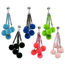 Ohrstecker mit Pompons in verschiedenen Farben
