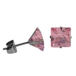 Ohrstecker mit Quadrat in pink 8 mm