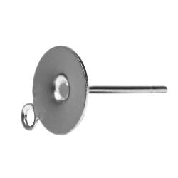 10 x Ohrstecker Rohling mit Platte und Öse Edelstahl 6mm