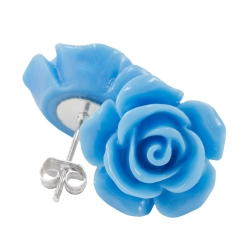 Ohrstecker Rose in blau