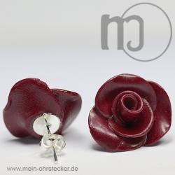 Ohrstecker Rose in dunkelrot - Unikat - handgearbeitet