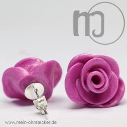 Ohrstecker Rose in dunklem pink - Unikat - handgearbeitet