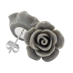 Ohrstecker Rose in grau