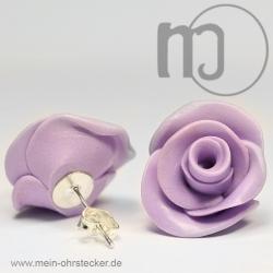 Ohrstecker Rose in lila - Unikat - handgearbeitet