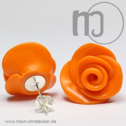 Ohrstecker Rose in orange - Unikat - handgearbeitet