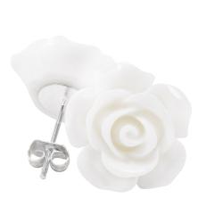Ohrstecker Rose in weiß