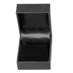 Ohrstecker Schmuckbox Leder-Imitat mit Veloursamt-Einlage in schwarz
