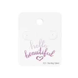 """5 x Schmuckkarte 925 Sterling Silber Ohrstecker """"hello beautiful"""""""