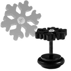 Fake Plug Ohrstecker Schneeflocke in schwarz