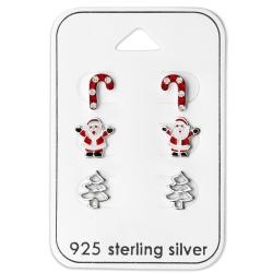 Ohrstecker Set 925 Sterling Silber Weihnachtsmotive