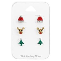 Ohrstecker Set 925 Sterling Silber Weihnachten mit Kristallen