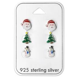 Ohrstecker Set 925 Sterling Silber Weihnachten