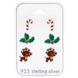 Ohrstecker Set Weihnachten 925 Sterling Silber