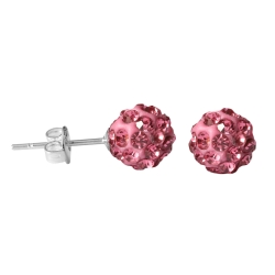 Shamballa Ohrstecker versilbert in pink 8mm