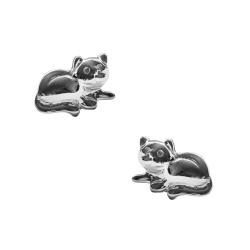 Ohrstecker liegende Katze in Silber