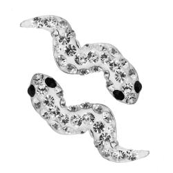 Silber Ohrstecker mit Schlangen in weiß