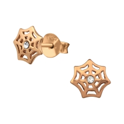 925 Sterling Silber Ohrstecker rosévergoldet mit Spinnennetz