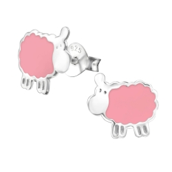 Ohrstecker 925 Sterling Silber mit Schaf in pink