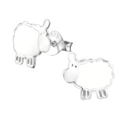 Ohrstecker 925 Sterling Silber mit Schaf in weiß