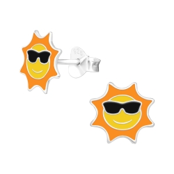 Ohrstecker 925 Sterling Silber mit Sonne und Sonnenbrille