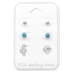 Ohrstecker Set 925 Sterling Silber Strandmotive