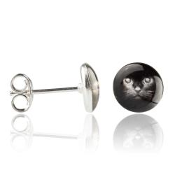 Ohrstecker 925 Sterling Silber mit schwarzer Katze