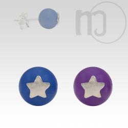 Ohrstecker Stern mit Blauachat oder Amethyst Kugel