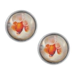 Ohrstecker versilbert mit Clownfisch 12 mm