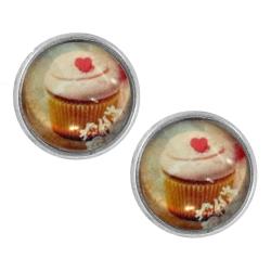 Ohrstecker versilbert Cupcake mit Herz 14 mm