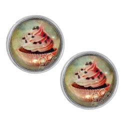 Ohrstecker versilbert mit Erdbeer-Cupcake 14 mm