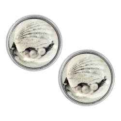 Ohrstecker versilbert Muscheln mit Perlen 14 mm