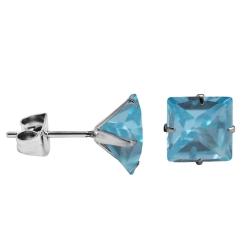 Ohrstecker in 925 Silber mit viereckigem Stein in blau 6mm