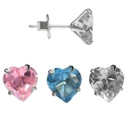 Silber Ohrstecker mit Herz in verschiedenen Farben und Größen