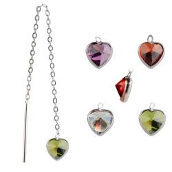 925 Sterling Silber Durchzieher Ohrringe mit Zirkonia Herz in verschiedenen Farben