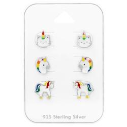 Ohrstecker Set 925 Sterling Silber Einhörner