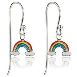 925 Sterling Silber Ohrhaken Ohrringe mit Regenbogen