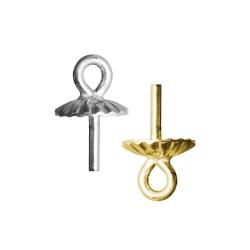 Perlenschale mit Stift und Öse in verschiedenen Materialien
